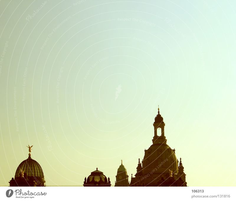WHAT GOOD IS SATURDAY IN THOUGHTS Dresden Church Manmade structures Historic Baroque Sky Point Clouds Beautiful weather Warped Sun Summer Colour Yellow Green