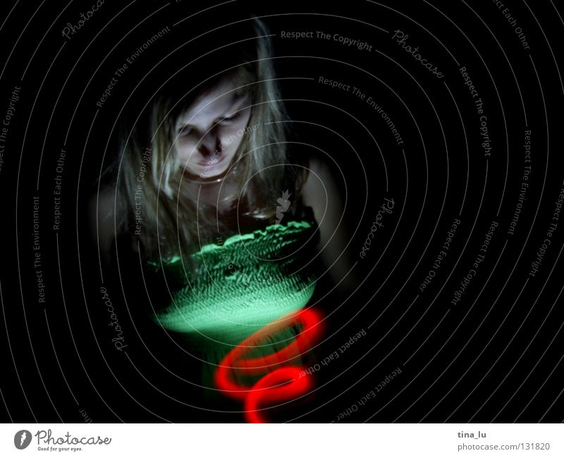 Woman Green Red Lamp Dark Dress Stripe Traffic light Spiral Visual spectacle Whirlpool Swirl Witching hour