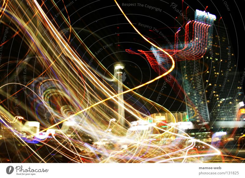 Berlin Illuminate Traffic infrastructure Chaos Surrealism Muddled Berlin TV Tower Exposure Visual spectacle Distorted Alexanderplatz Tracer path Strip of light Light streak City light