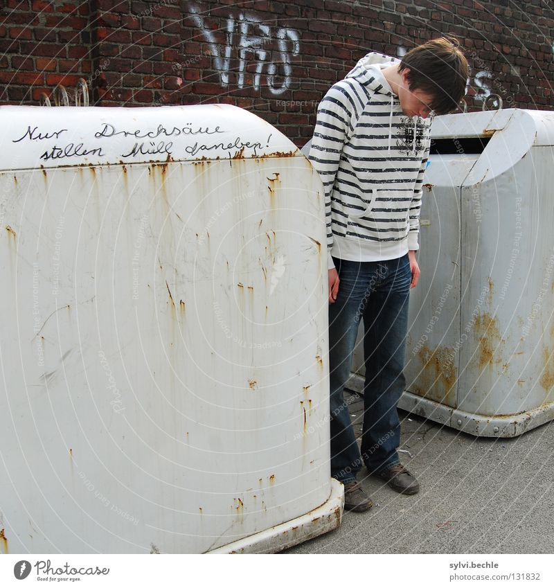Just scumbags ... Man Adults Head Wall (barrier) Wall (building) Rust Graffiti Stripe Hang Stand Dirty Moral Trash container Side Shabby Sidewalk Droop