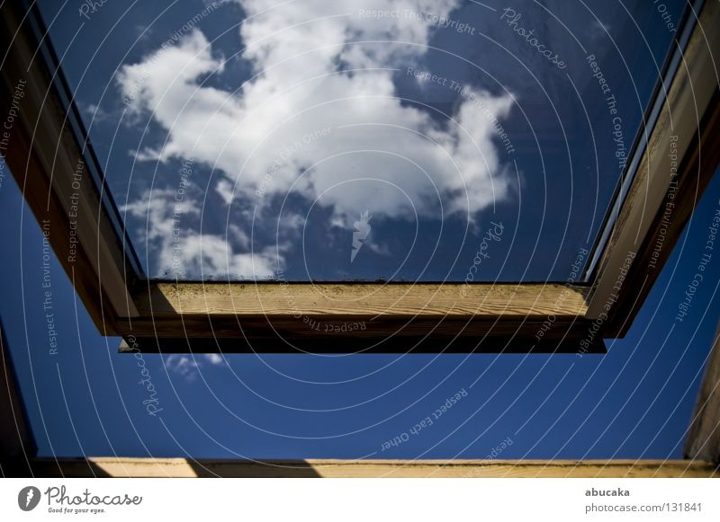 Free at last! Window Clouds Heavenly White Infinity Summer Sky wooden frames Blue Detail tilt window ciel outside Nature