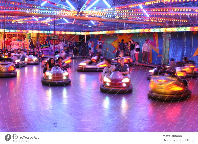 bumper cars Fairs & Carnivals Bumper car Driving Light Electrical equipment Group Human being Cable