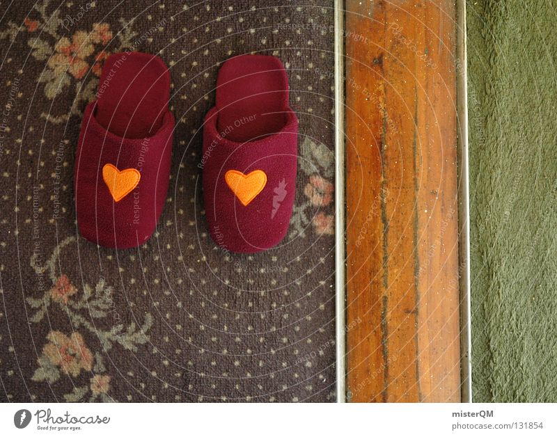 Symmetry in everyday life. Footwear Flat (apartment) House (Residential Structure) Slippers Love Pattern Crazy Heart Carpet Style Violet Sense of taste Green