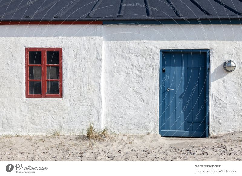 Vacation & Travel Blue Summer White Ocean Red Calm House (Residential Structure) Beach Window Architecture Coast Building Facade Living or residing Fresh