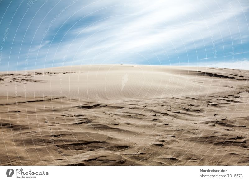 Sky Nature Vacation & Travel Blue Landscape Clouds Far-off places Background picture Brown Sand Horizon Climate Beautiful weather Elements Eternity Infinity