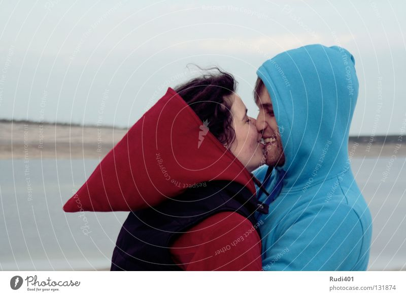 Blue Red Love Freedom Happy Couple Lake Contentment Coast Round Romance Near Peace Kissing Point