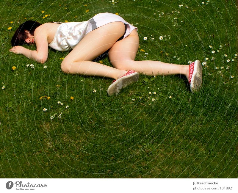 Woman Relaxation Meadow Death Grass Garden Legs Contentment Arm Sleep Lawn Break Peace Lie To fall Fantastic