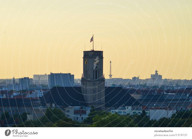 Ik bin ein Berliner Tourism Far-off places Sightseeing City trip Cloudless sky Sunrise Sunset Sunlight Beautiful weather Capital city Downtown City hall
