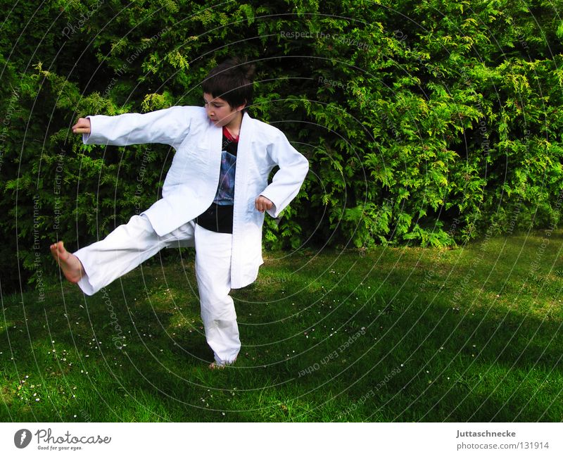 White Green Joy Jump Contentment Japan Sports Training Fight Blow Beat Practice Martial arts Defensive Tread Asia Karate