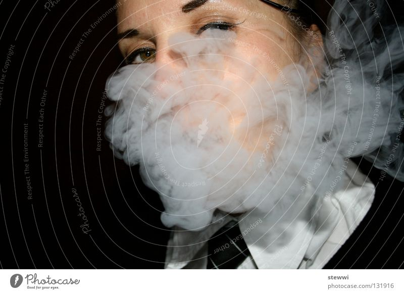 School's Out Woman Smoke Uniform Fog Smoking Waterpipe Tobacco Vista female business dress Face high school Eyes Unclear Packaged Head