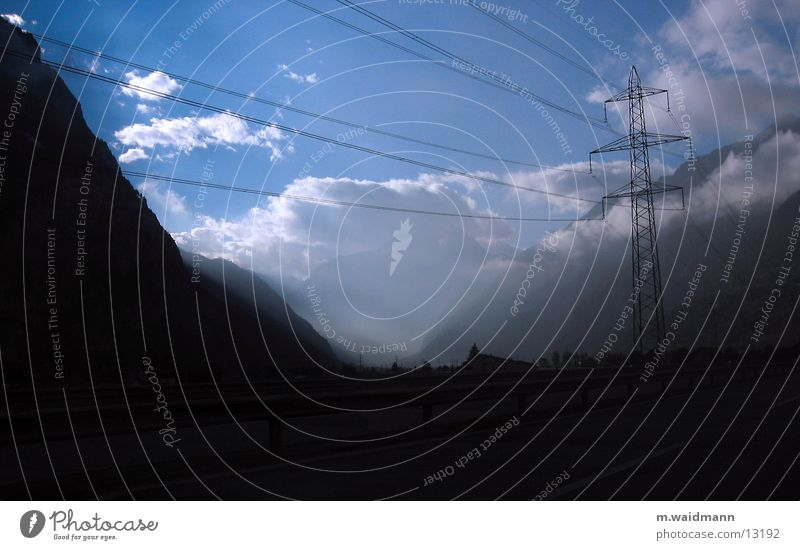 Sky Clouds Mountain Fog Electricity Highway Electricity pylon Transmission lines Valley
