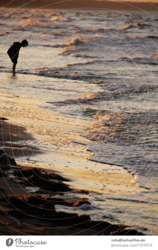Human being Child Nature Water Ocean Landscape Beach Black Yellow Life Emotions Coast Boy (child) Moody Orange Dream