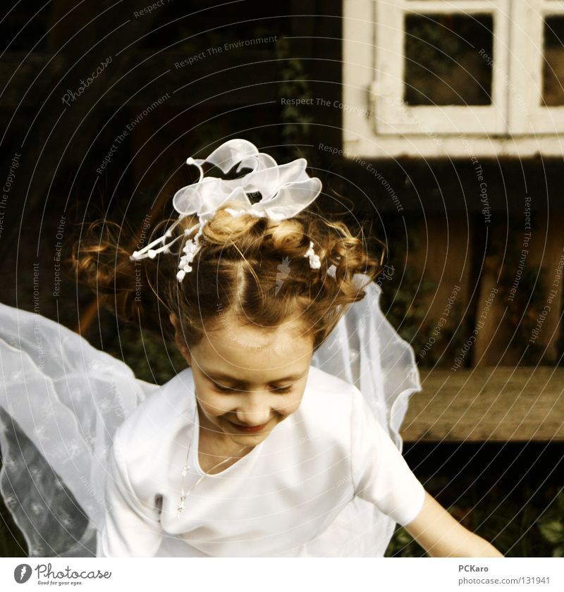 Child Girl White Jump Flying Angel Ease Hop Princess Communion