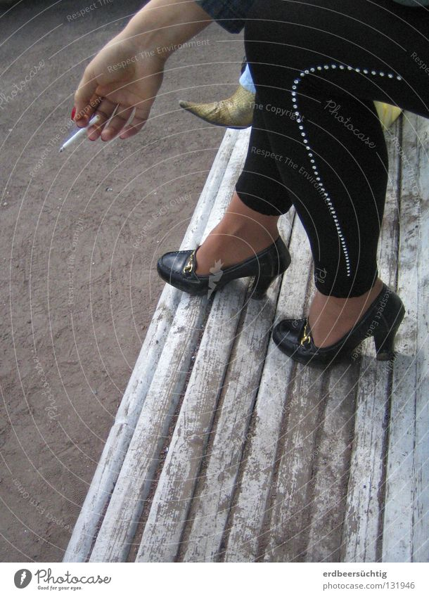 Woman Hand Black Calm Adults Legs Fashion Feet Footwear Leisure and hobbies Fingers Break Bench Smoking Obscure Cigarette
