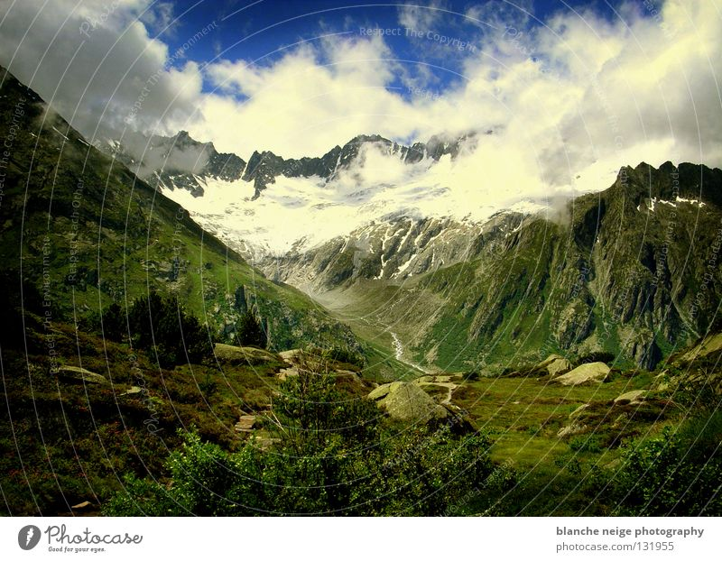 Sky Green Blue Clouds Snow Mountain Rock Hope Vantage point Switzerland Alps Alpine pasture Mountain meadow