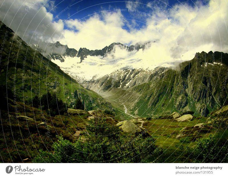 swiss fairy tale Clouds Green Mountain meadow Switzerland Hope Vantage point Sky Blue Alpine pasture Alps Snow Rock mountain view