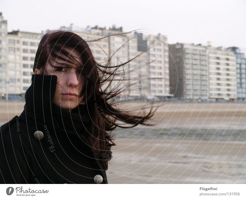 Woman Water Vacation & Travel Ocean Beach Adults Black Loneliness House (Residential Structure) Cold Emotions Gray Hair and hairstyles Think Sadness Wind