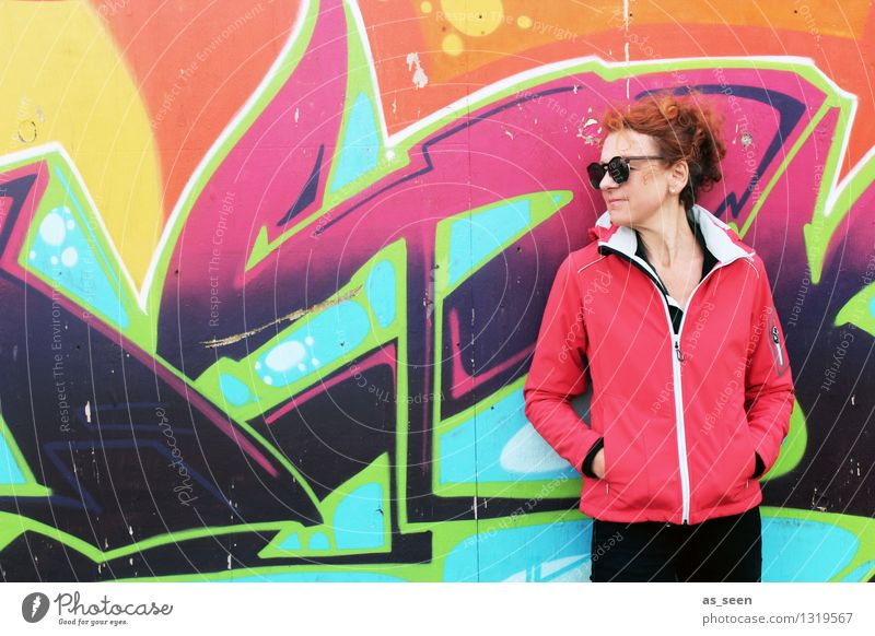 Woman from graffiti Adults 1 Human being 30 - 45 years Art Work of art Youth culture Subculture Music Wall (barrier) Wall (building) Facade Red-haired Curl Sign