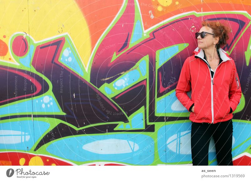 Human being Woman Colour Adults Wall (building) Life Graffiti Style Wall (barrier) Art Fashion Facade Orange Design Stand Perspective