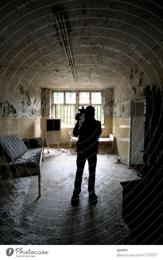cameraman Back-light Ruin Silhouette Room Broken Destruction Bed Cupboard Window Black Trash Man Derelict Television Feather Camera Shadow urban exploration
