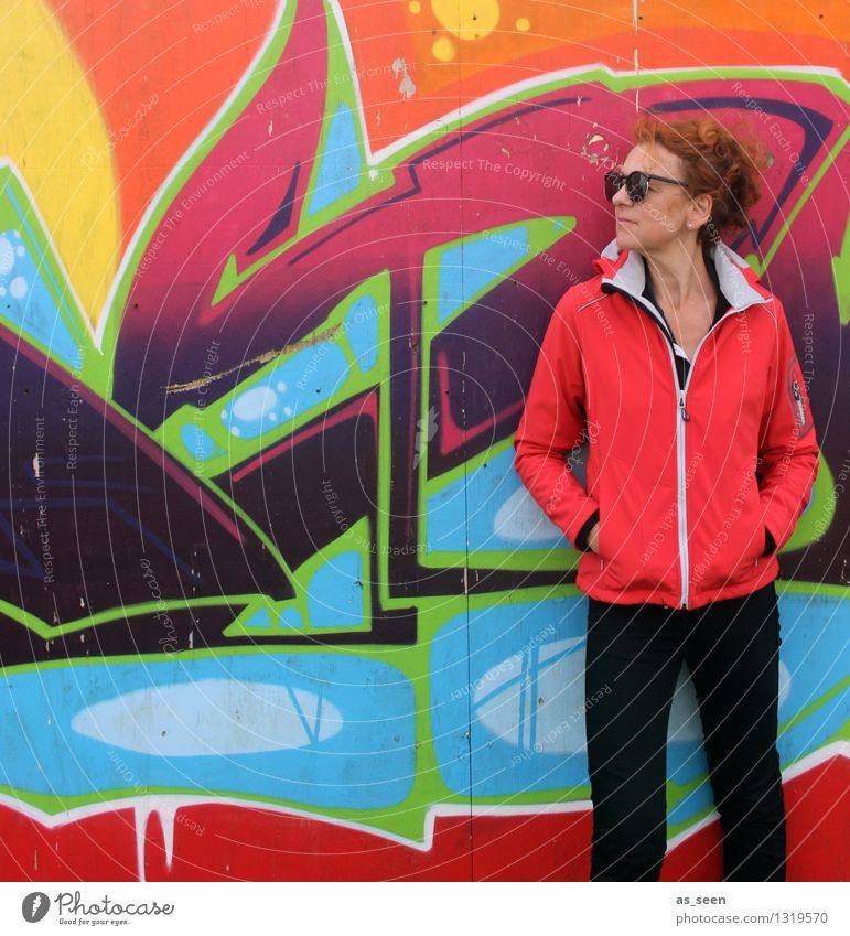 standing Woman Adults Life 1 Human being 30 - 45 years Art Youth culture Subculture Environment Wall (barrier) Wall (building) Facade Fashion Jacket Red-haired