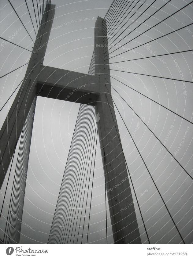 Sky White Black Gray Line Watercraft Large Transport Bridge Cable Might River Level China Navigation San Francisco