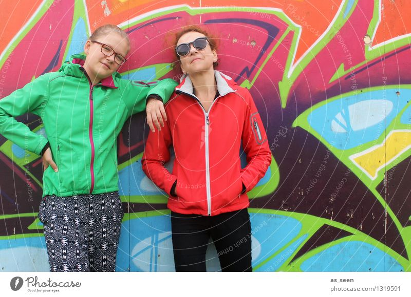 team girl Woman Adults Mother Youth (Young adults) Body 2 Human being Painting and drawing (object) Youth culture Subculture Environment Wall (barrier)