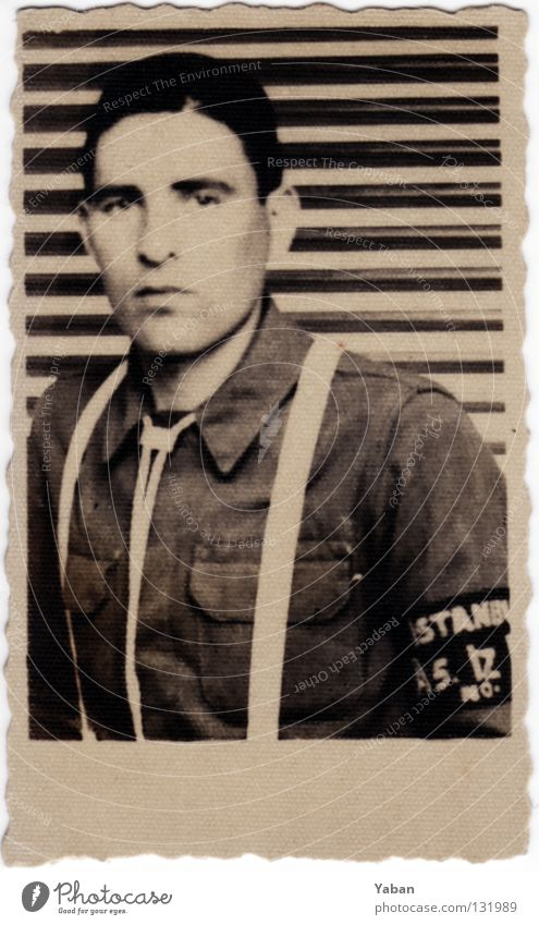 You're in the army now Passport photograph Tattered Army Military draft Soldier Man Young man Sixties Suspenders Turkey Istanbul Black & white photo