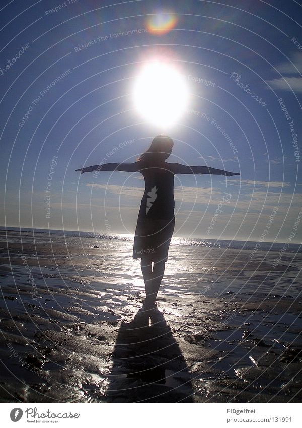Woman Sky Water Blue Sun Vacation & Travel Ocean Summer Beach Clouds Calm Adults Black Loneliness Far-off places Freedom