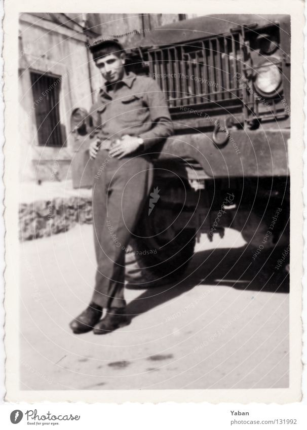 my father Tattered Army Military draft Soldier Man Young man Sixties Turkey Istanbul Truck Black & white photo Grief Distress with edge military service private