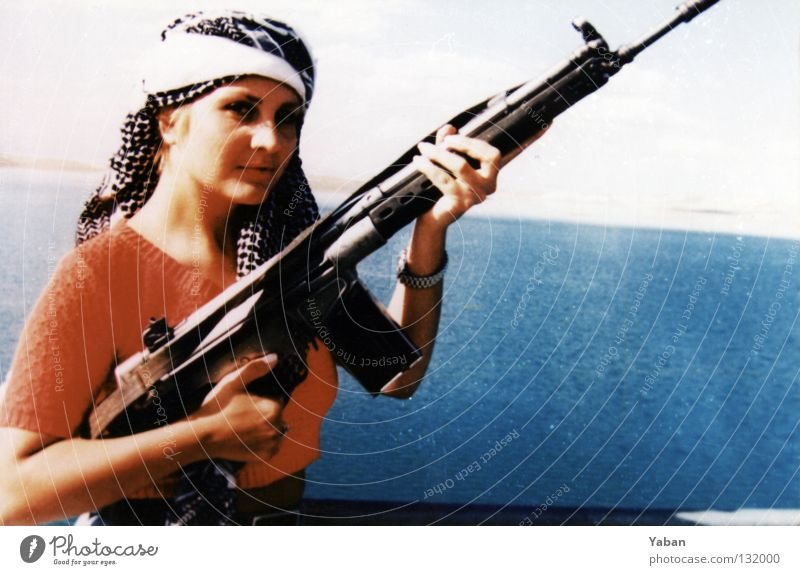 Through Wild Kurdistan II Woman Rifle Assault weapon Weapon Lake Reservoir Turkey South East War Riot Revolt Guerilla Provocative Beautiful Historic Dangerous