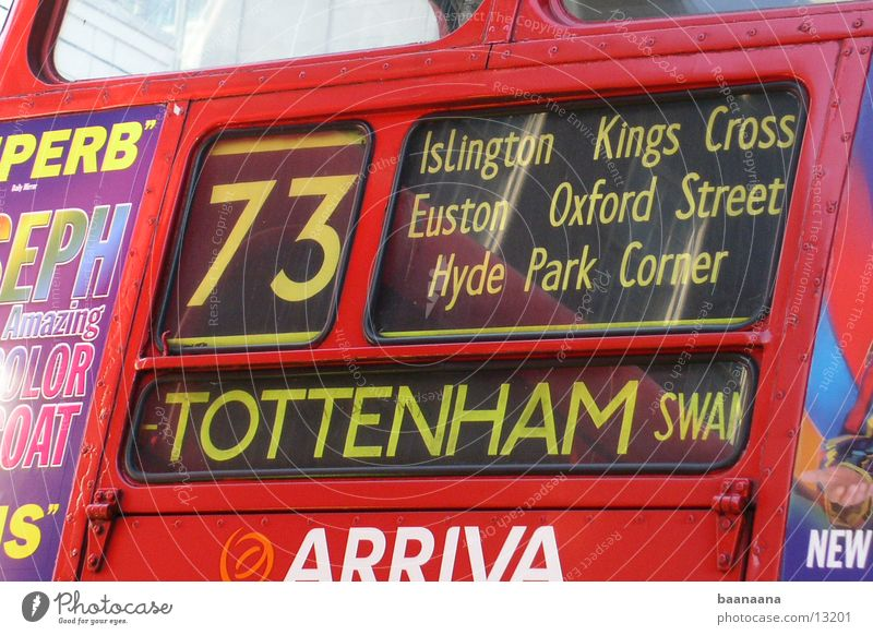 England Bus South Tottenham Transport Red Bus Lanes & trails Display