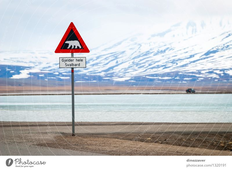 Polar bear sign Vacation & Travel Trip Adventure Winter Snow Mountain Nature Landscape Animal Sky Clouds Street Wild Red White Safety polar Bear warning danger