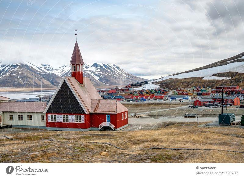 Longyearbyen church Vacation & Travel City Blue Plant Summer Flower Landscape Architecture Grass Building Religion and faith Garden Tourism Vantage point Europe