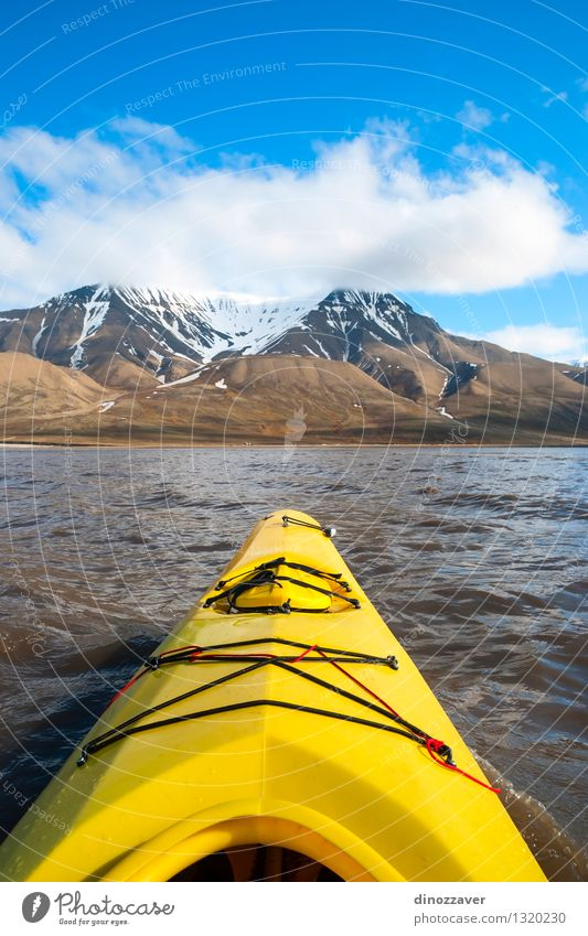 Kayaking in arctic sea Lifestyle Leisure and hobbies Vacation & Travel Trip Adventure Freedom Summer Ocean Snow Mountain Sports Human being Nature Landscape Sky