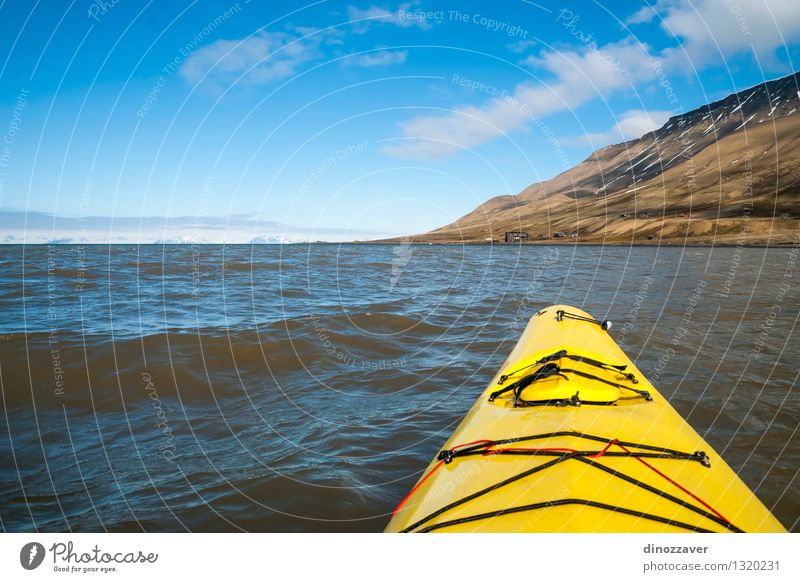 Kayaking in the Arctic Sea Lifestyle Leisure and hobbies Vacation & Travel Trip Adventure Freedom Summer Ocean Snow Mountain Sports Human being Nature Landscape