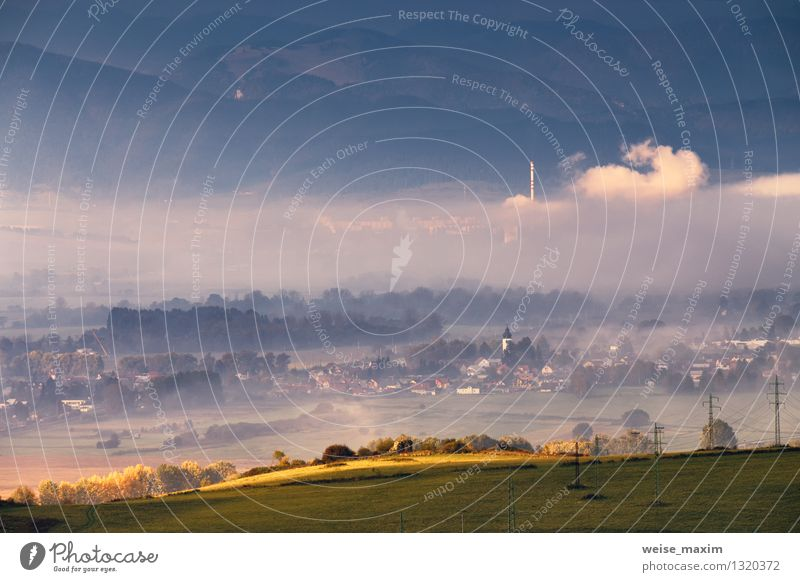 Morning in Slovakia Environment Nature Landscape Earth Air Water Sky Clouds Sunrise Sunset Autumn Weather Fog Plant Tree Grass Bushes Agricultural crop Garden