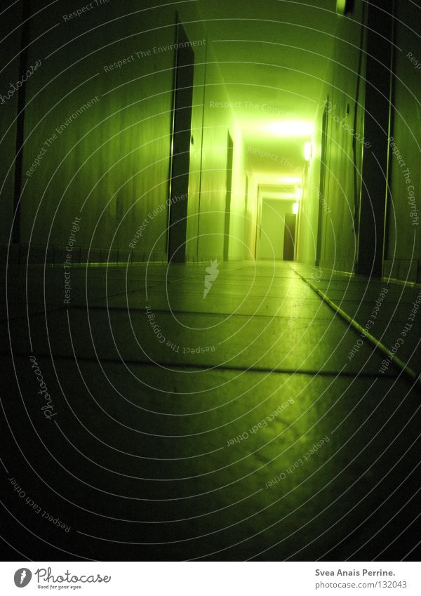 What awaits you at the end of your journey House (Residential Structure) Hallway Door Ground Loneliness Harrowing Cruel Creepy Area Tile Light Shadow Green