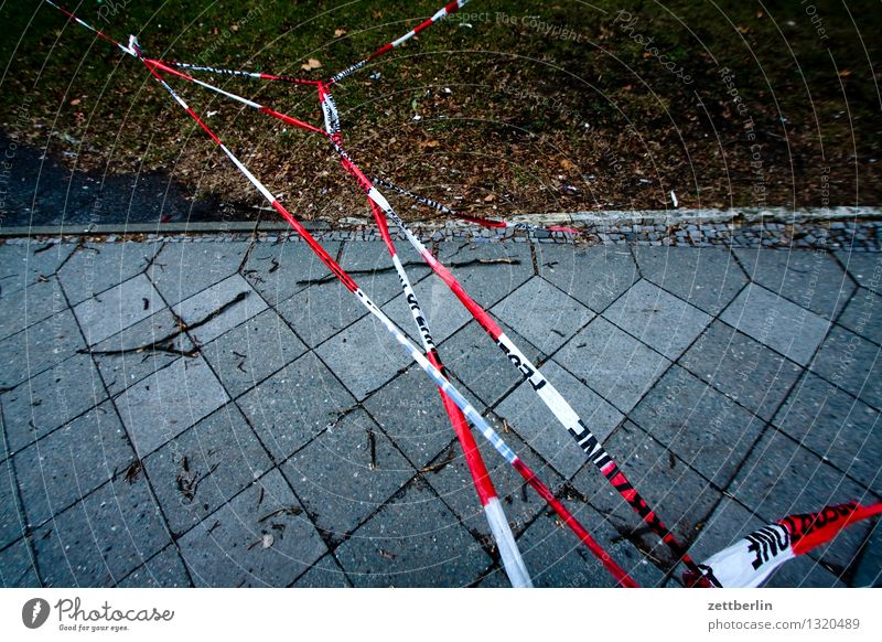 barrier tape Berlin Autumn Town City life Suburb String Barrier Bans Passage Sidewalk Safety Gale Storm warning Storm front Warning label platic ribbon Border