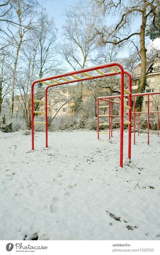 playground Bright Light Snow Snowfall Snow layer Winter Winter's day Playground Child Climbing facility Deserted Copy Space Park Cold Living or residing