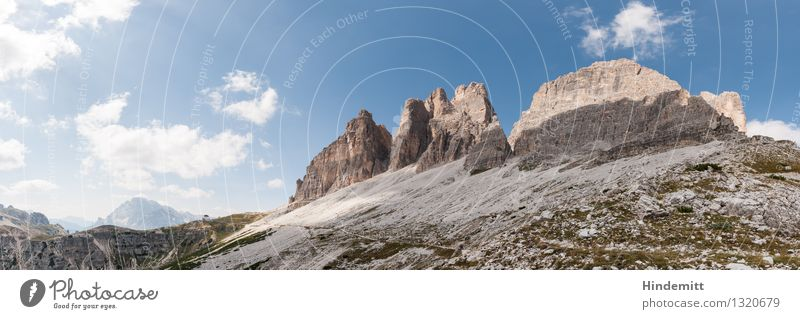 three merlons Environment Nature Landscape Elements Sky Clouds Summer Beautiful weather Rock Alps Mountain Dolomites Peak House (Residential Structure)
