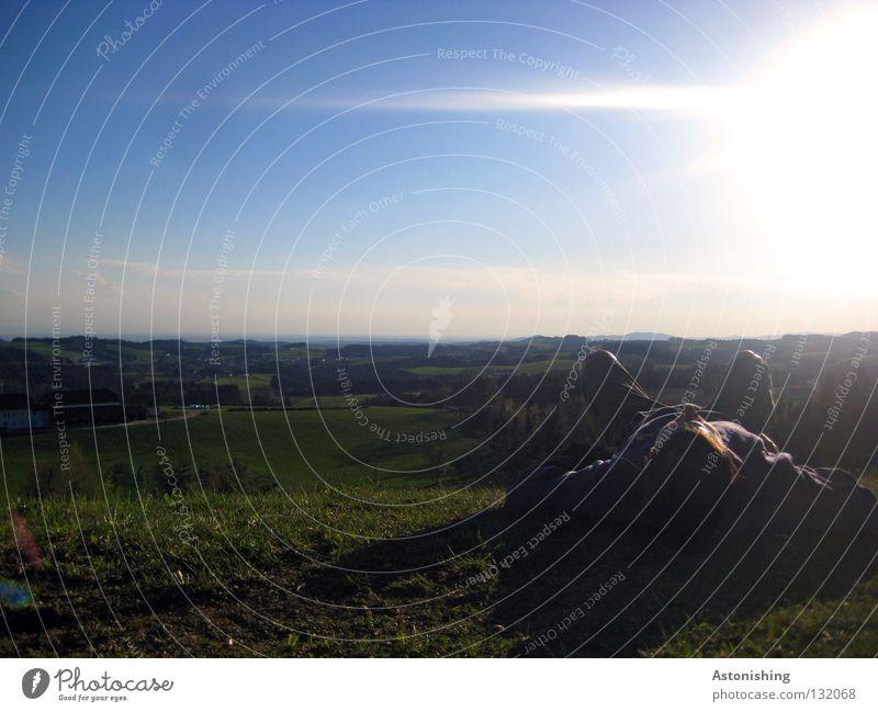 the first summer day I To enjoy Sleep Calm Summer Meadow Hill Man Horizon Light Clouds Dark Landscape Lie Sun Sky mill district Human being Legs Shadow Evening