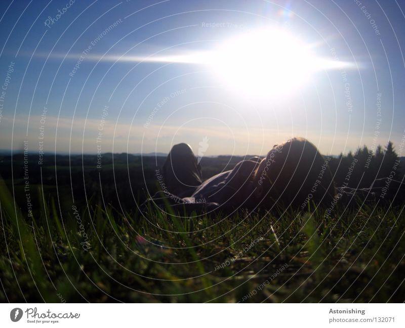 the first summer day II To enjoy Sleep Calm Summer Meadow Hill Man Horizon Light Clouds Dark Grass Blade of grass Landscape Lie Sun Sky mill district