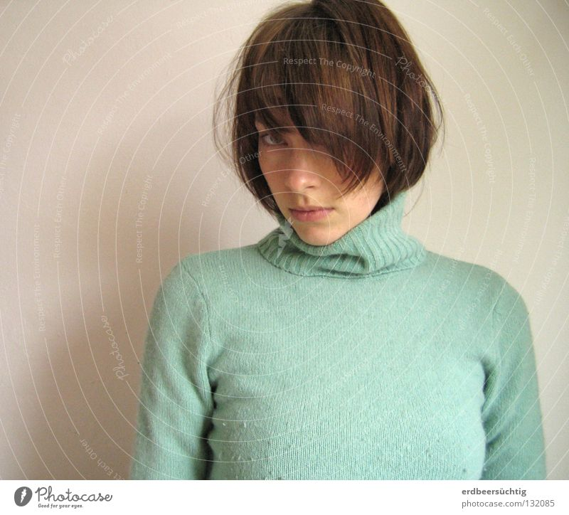 You don't understand me! Hair and hairstyles Woman Adults Mouth Sweater Bangs Sadness Cold White Grief Feeble Roll-necked sweater Wall (building) Mint green