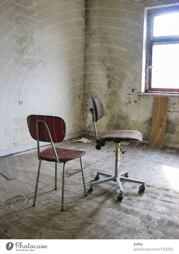 Old Red Loneliness Window Wall (building) Wall (barrier) Dirty Room Empty Corner Floor covering Retro Chair Industrial Photography Tracks Derelict