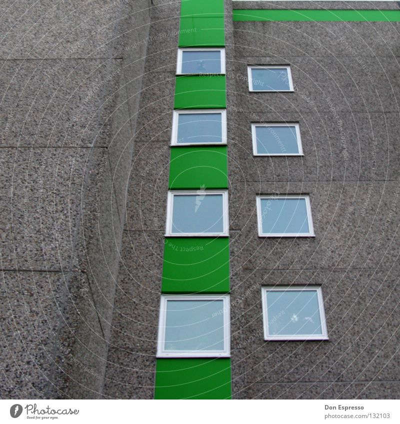 Green City House (Residential Structure) Window Gray Stone Wall (barrier) Line High-rise Facade Gloomy Living or residing Story Window pane Prefab construction
