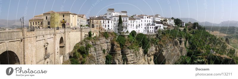 City Vacation & Travel House (Residential Structure) Far-off places Mountain Andalucia Landscape Large Trip Europe Bridge Spain Deep Canyon Panorama (Format)