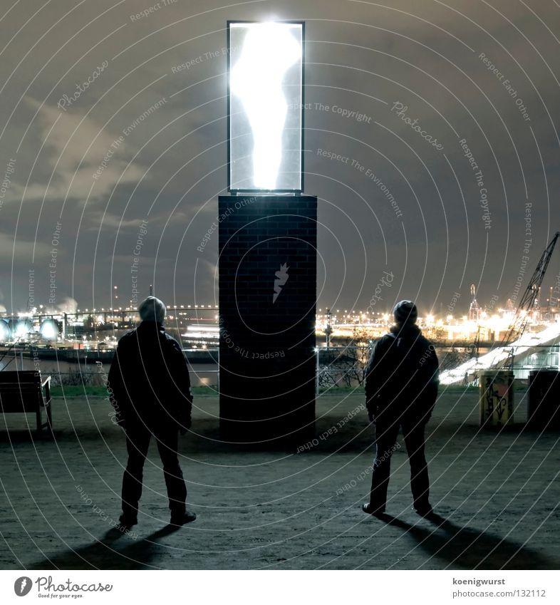 Transporter: Energy! Light Neon light Long exposure Drop shadow Night Container terminal Sculpture Looking Puppy love Cap Harbour Hamburg Altona