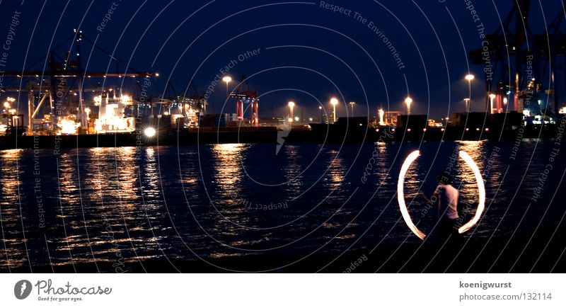 Water Blue Dark Playing Blaze Hamburg Fire Industrial Photography Harbour Night Elbe Torch Kiwido Container terminal Tumbler Elbstrand