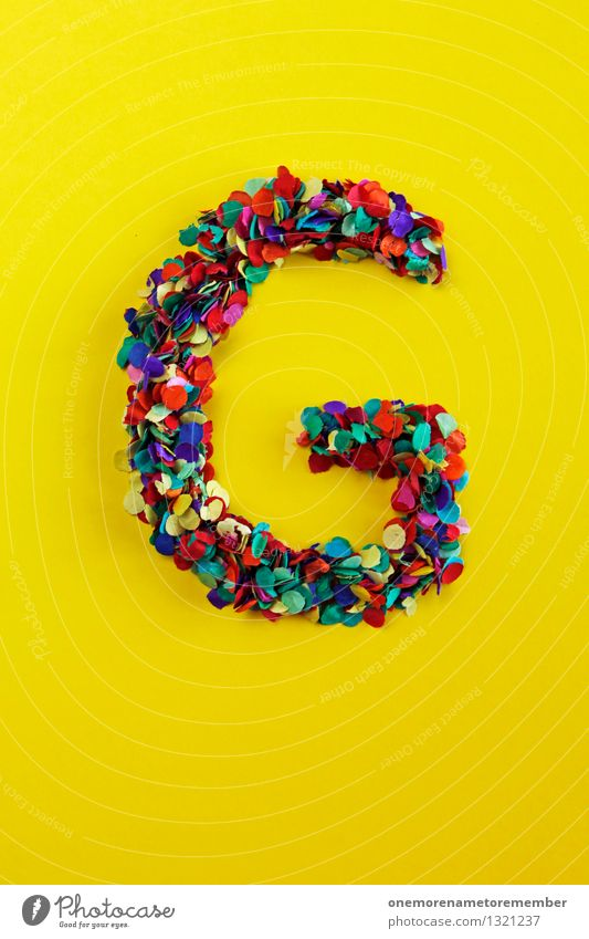 g Art Work of art Esthetic Green Yellow Happy Emotions Letters (alphabet) Typography Gaudy Design Creativity Confetti Colour photo Multicoloured Interior shot